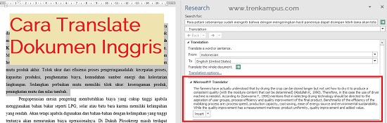Translate Inggris Indonesia di word