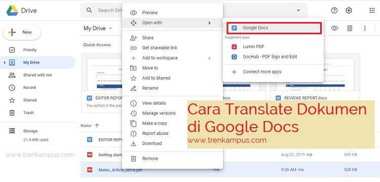 Cara translate file PDF di Google Docs