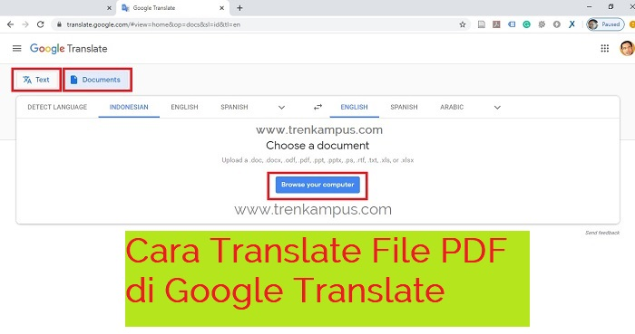 Cara translate file PDF di Google Translate